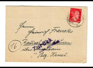Brief aus Hamburg vom 5.4.45: Zurück - nicht Zustellbar, späte Post