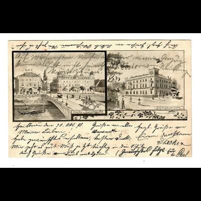 1898: Ansichtskarte Heilbronn mit Eisenbahnhotel nach Pfeffingen
