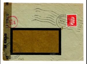 Brief aus Holleischen/Sudetenland vom 19.2.1945, US Zensur, sehr späte Post