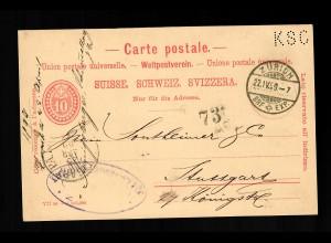 Postkarte - Ganzsache - Zürich 1899 nach Stuttgart, Karte mit PERFIN KSC