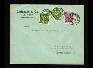 Ortsbrief Leipzig, 1922 an einen Pastor
