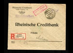 Einschreiben Freiburg 1923, Gebühr bezahlt nach Achern