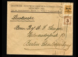 Drucksache Postwertzeichen Ausstellung 1924 an Prof. Stenger, Berlin, Aufdruck