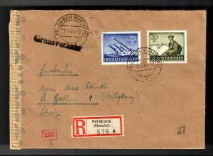 Einschreiben Feldkirch/Vorarlberg/Rheintal 1944 in die Schweiz - GRENZVERKEHR