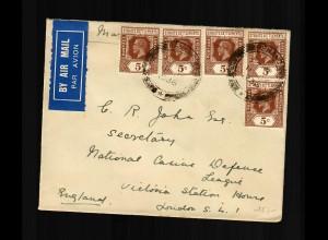 Penang 1936, air mail to London/England