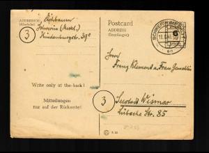 Postkarte MiNr. P793, Schwerin 1945 nach Seestadt/Wismar