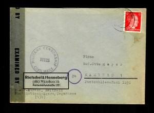Rotterach-Egern 5.4.1945 nach Hamburg, Alliierte Zensur