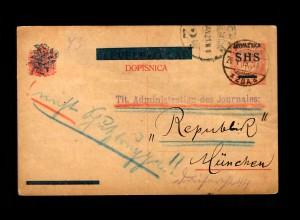 Post card 1919 Zagreb - Agram nach München