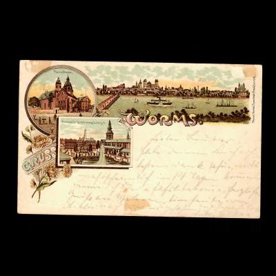 Ansichtskarte Worms 1900 nach Eula/Forst/Lausitz
