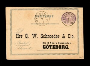post card 1879 from Rolfstorp to Göteborg. Printed adress