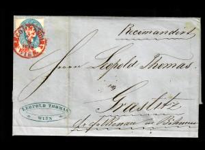 Brief aus Wien 1862 nach Grastitz/Böhmen
