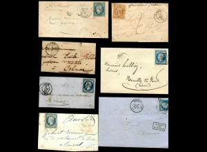 7x covers France, Charleville, Reims, Paris, Lune, Pont St. Maxence around 1860