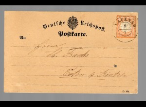 Postkarte Lauenau 1873, Hannover Stempel lt. Feuser selten