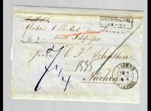 Paketbegleitbrief Goldberg/Schlesien nach Aachen 1854
