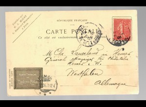 postcard Paris de la bourse 1906 to Germany, stamp Perfin A.M. (Maury)