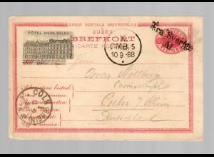 Hotel postcard Malmö 1888 to Köln/Germany, Aera Sverige