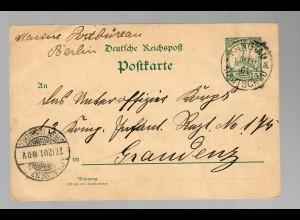 Kiautschou: Tsingtau Postkarte Marine Postbüro nach Graudenz 1901