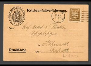 1926 Drucksache Postkarte PERFIN, München B-B-B nach Höhenroth