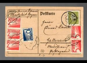 Postkarte 1932 von Landshut nach Gallspach, Österr. Nachporto, Reserve Stempel
