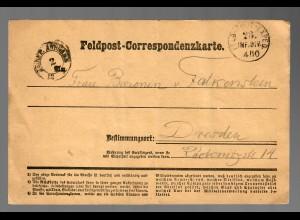 Feldpost Correspondenzkarte Clichy 1870 nach Dresden
