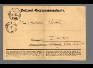 Feldpost Correspondenzkarte Sarran Oktober 1870 nach Dresden