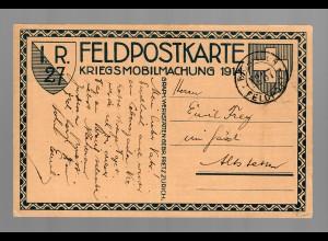 I.R. 27, Feldpostkarte Mobilmachung 1914 nach Altstetten