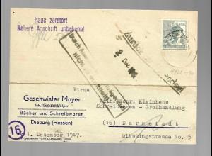 Postkarte Dieburg nach Darmstadt 1947, zurück: Haus zerstört