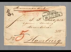 Preussen/Berlin, Einschreiben 1858 Stadtpost nach Hamburg
