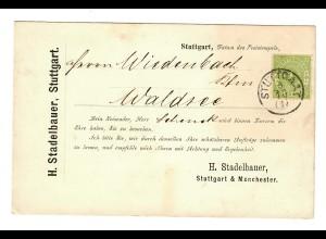 Postkarte Stuttgart nach Waldsee, Vertreterkarte