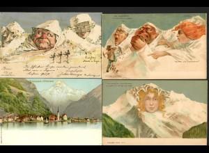CH: 5x Ansichtskarte, Gesichter, 1x Doppelkarte