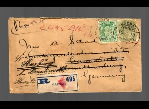 India: registered Madras, Perfin stamps, to Germany Harburg/Donauwörth 1919
