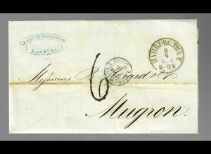 Brief von Hamburg nach Mugron / Frankreich 1858