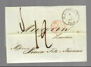 Brief von Hamburg nach Mugron / Frankreich 1848