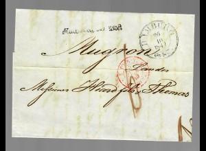 Brief von Hamburg nach Mugron / Frankreich 1849