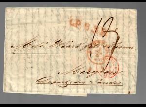 Brief von Niederlande nach Mugron / Frankreich 1850