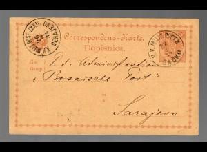 Ganzsache Bosnien P1 1884 Cacko,KKMilit. Post nach Sarajevo