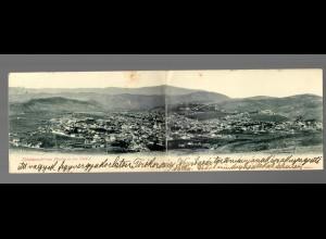 Doppel-Ansichtskarte Plevlja in der Türkei, 1901, Feldpost Expeditionskorps