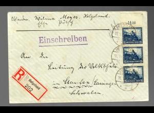 Einschreiben Helgoland, MeF MiNr. 461 nach Staufen 1932