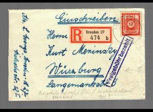 Einschreiben Dresden nach Würzburg: Freigebühr bezahlt 1946