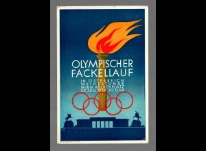 AK1936: Olympischer Fackellauf in Österreich mit Sonderstempel