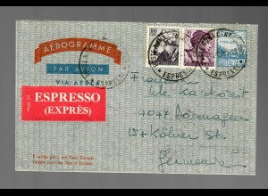 Italy: air mail Express 1965, Roma to Dormagen