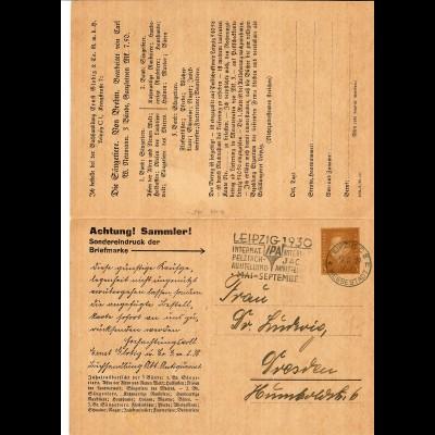 Privat Ganzsache, Doppelkarte, 1929 mit Werbestempel Leipzig nach Dresden
