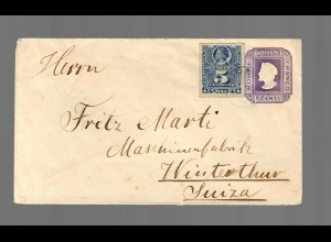 Valdivia to Winterthur/Switzerland 1892