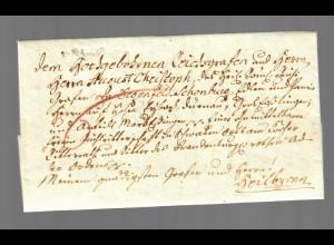 """Brief von Essingen, Stempel """"V Schw Gmünd"""" nach Heilbronn 1790"""