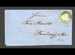 Brief Mannheim 1873 als Drucksache nach Freiburg, Weingeist, Alkohol, MiNr. 23