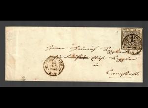 Brief aus Stuttgart 1853, Ortsbrief, Schnitt !!!