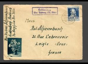 Landpostbrief Geddenberg über Bedburg/Köln 1947 nach Laigle/Orne/Frankreich