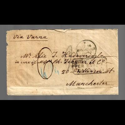 Landpoststempel Varna/Bulgarien 1872 aus Russland nach Manchester