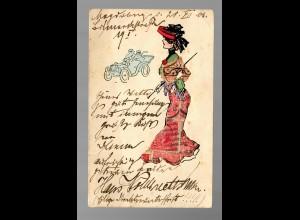 Ansichtskarte: Bastelei: Kleid aus Briefmarken 1906 Magdeburg nach Berneck