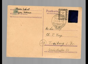 Postkarte PC 808 G(F) von Hottingen/Murg nach Freiburg 1946